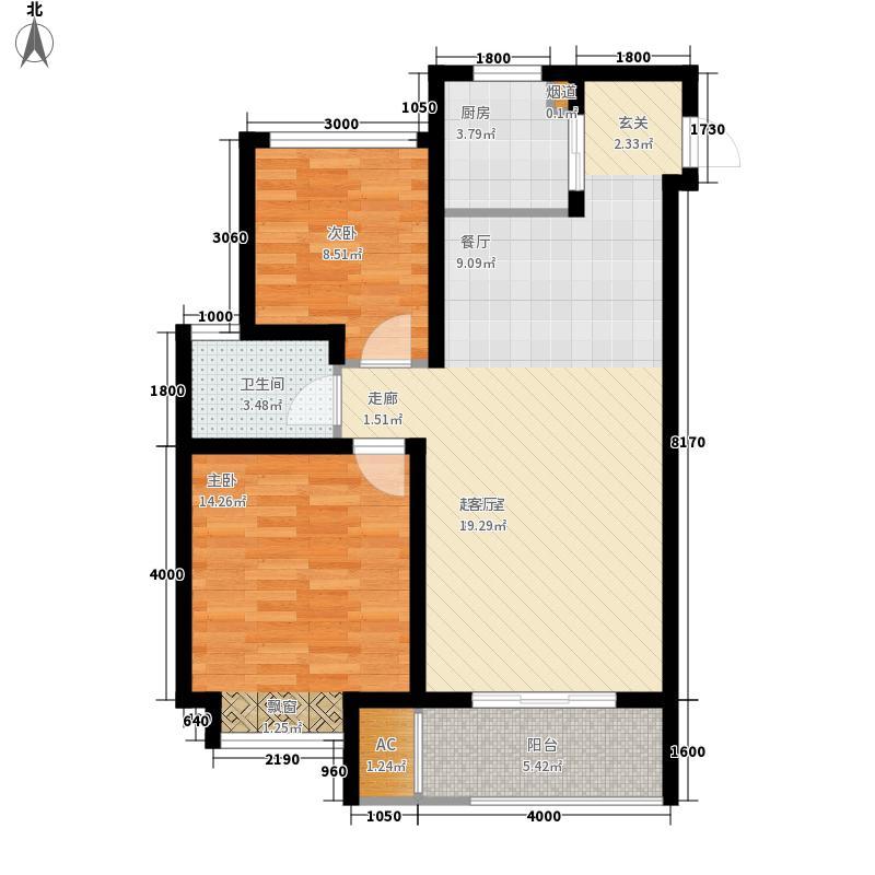新城石湖公馆户型图80平瞰景高层 2室2厅1卫1厨