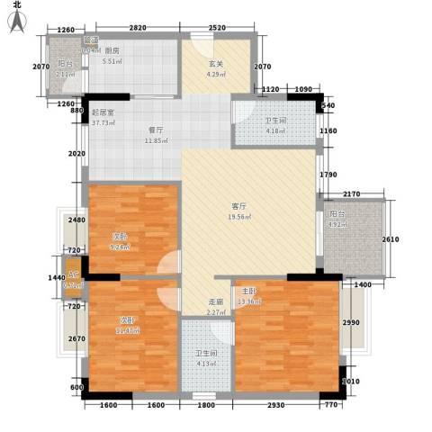 中堂东港城3室0厅2卫1厨111.00㎡户型图