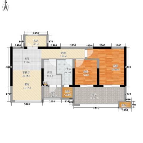 佳兆业御峰2室1厅1卫1厨90.00㎡户型图