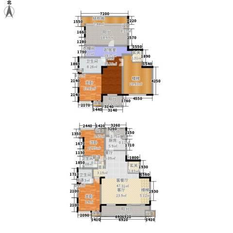 佳兆业御峰2室1厅3卫1厨220.00㎡户型图