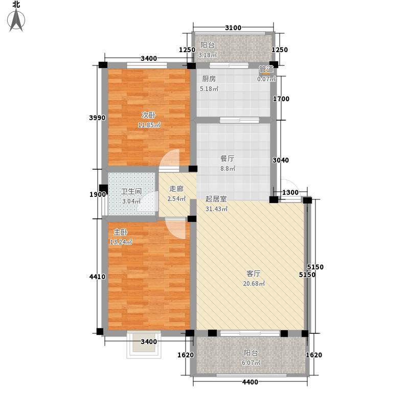 幸福广场90.06㎡E户型 二室二厅一卫 90.06平米户型2室2厅1卫