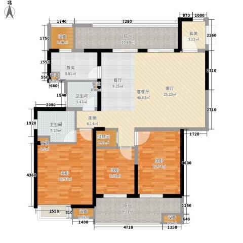 佳兆业御峰3室1厅2卫1厨140.00㎡户型图