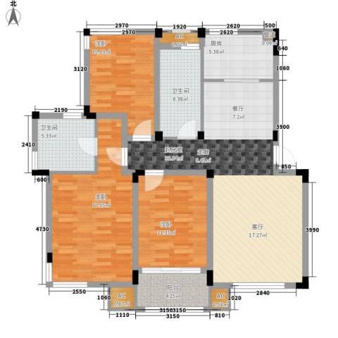 天地人科文苑3室0厅2卫1厨110.00㎡户型图