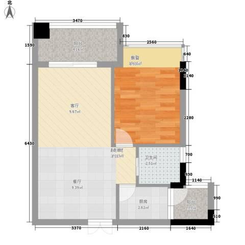 瑞海水城1室0厅1卫1厨51.00㎡户型图