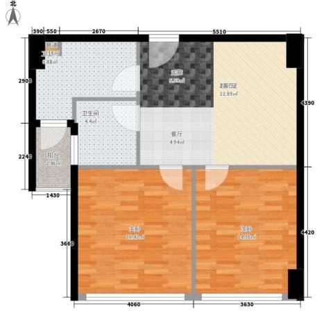 瑶海南村2室0厅2卫0厨75.00㎡户型图