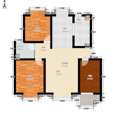 科达华苑江南世家3室0厅1卫1厨120.00㎡户型图