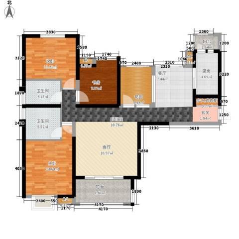 碑林分局家属院3室0厅2卫1厨100.07㎡户型图