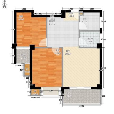 龙泉华庭2室0厅1卫1厨88.00㎡户型图