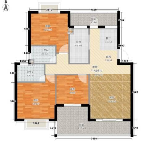 版纳一品3室1厅2卫1厨117.00㎡户型图