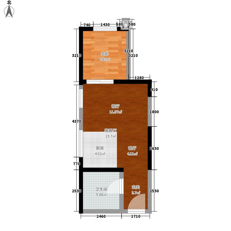 中威国际公寓42.00㎡M户型1室1厅1卫