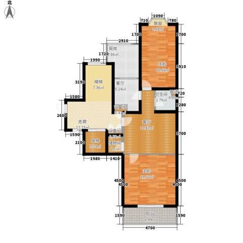 盈峰翠邸2室2厅1卫1厨103.00㎡户型图
