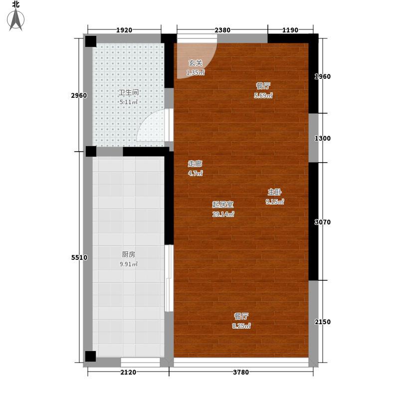 中威国际公寓50.50㎡C户型1室1厅1卫
