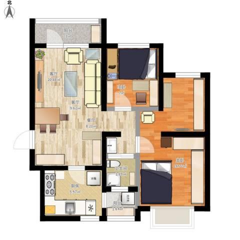 hdxfjy2室1厅1卫1厨90.00㎡户型图
