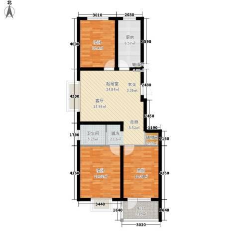 精信博雅园3室0厅1卫1厨86.00㎡户型图