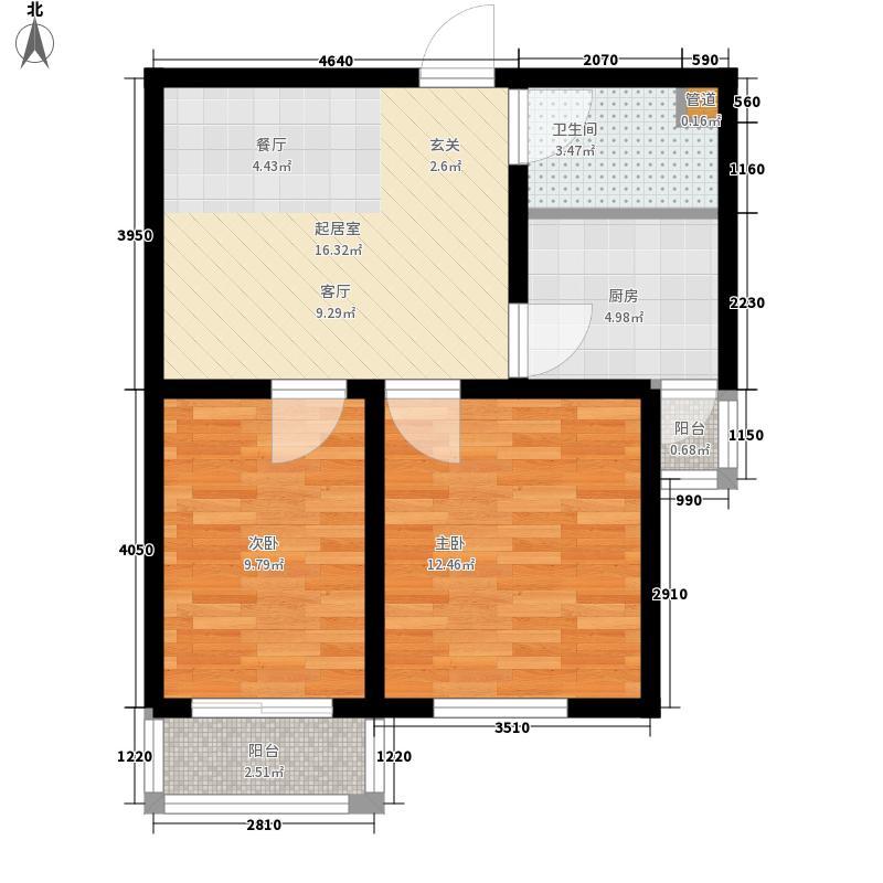 凤凰春城59.78㎡凤凰春城户型图一期2#楼5-28层C户型2室2厅1卫1厨户型2室2厅1卫1厨