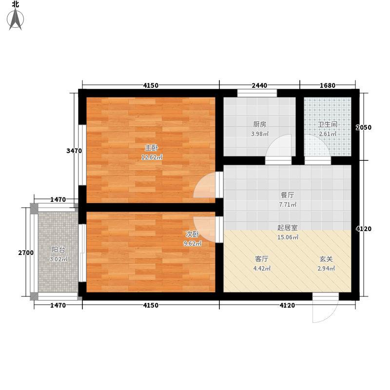 凤凰春城55.02㎡凤凰春城户型图一期2#5-28层楼A户型2室2厅1卫1厨户型2室2厅1卫1厨