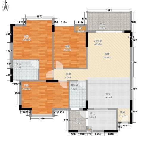 中堂东港城3室0厅2卫1厨127.00㎡户型图