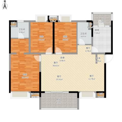 新世纪领居三期3室1厅2卫1厨155.00㎡户型图