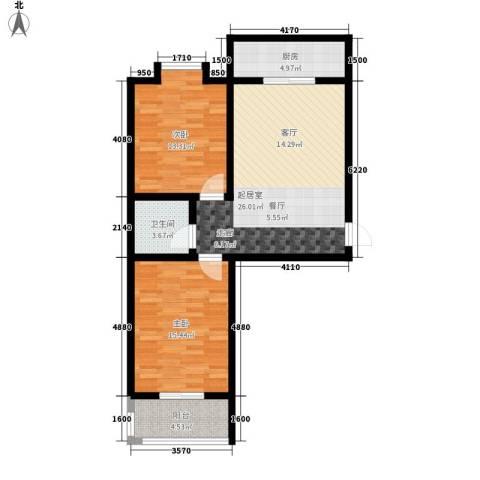 灞柳康馨花园2室0厅1卫1厨78.00㎡户型图