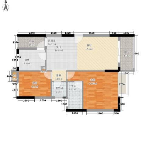 中堂东港城2室0厅2卫1厨85.00㎡户型图