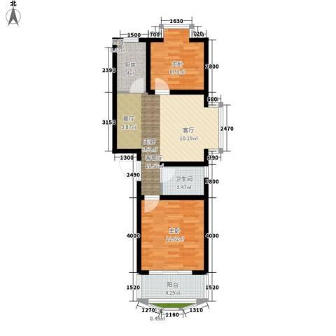 中虹丽都苑2室1厅1卫1厨78.00㎡户型图