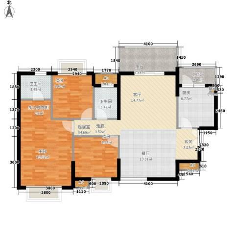 中堂东港城3室0厅2卫1厨96.38㎡户型图