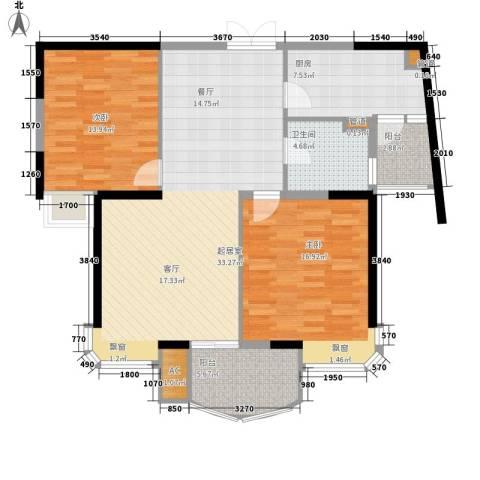 水岸帝景2室0厅1卫1厨94.00㎡户型图