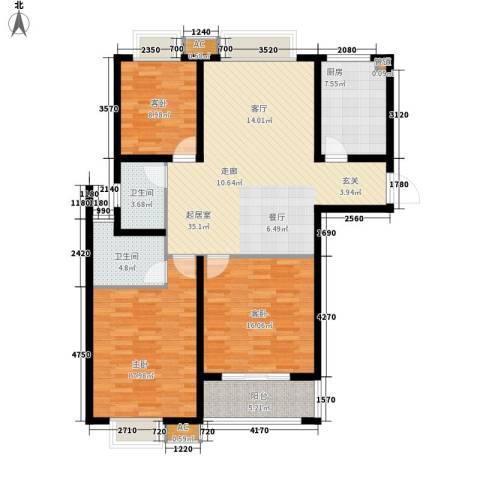 栖霞瑜憬湾3室0厅2卫1厨114.00㎡户型图