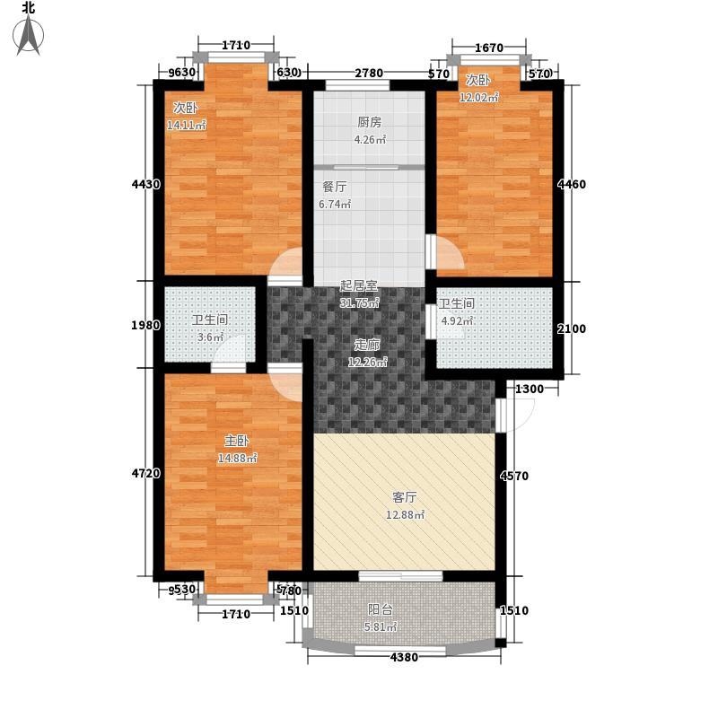 灞柳康馨花园105.98㎡户型F户型2室2厅2卫1厨