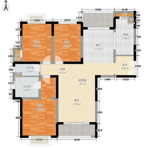 远雄徐汇园3室0厅2卫1厨153.00㎡户型图