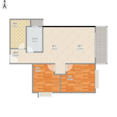 海珠信步闲庭2室1厅1卫1厨83.00㎡户型图