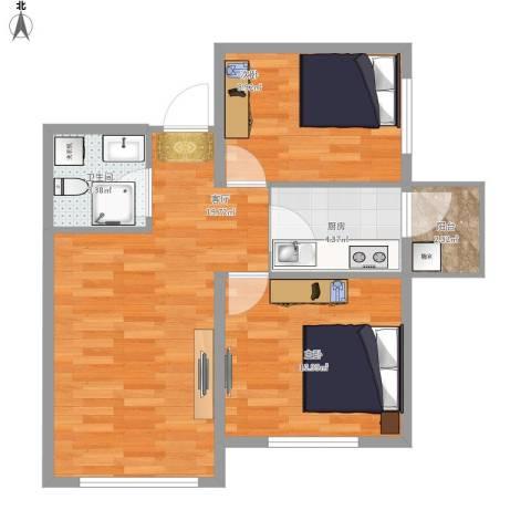 明光水岸2室1厅1卫1厨69.00㎡户型图