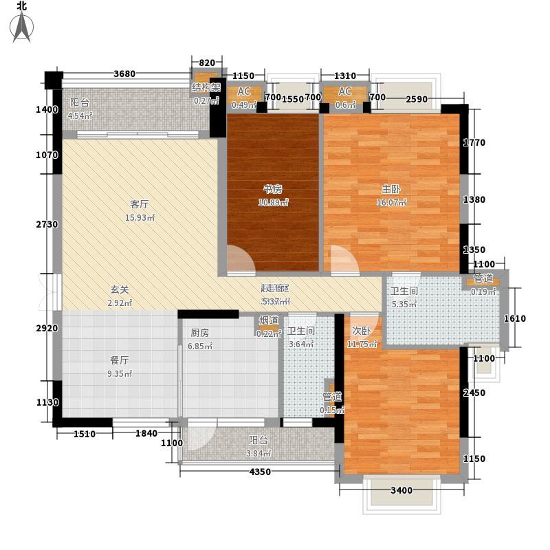 翡翠绿洲120.00㎡57-62栋01/0268栋01户型3室2厅