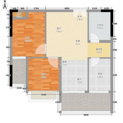 广盛华苑2室0厅1卫1厨87.00㎡户型图
