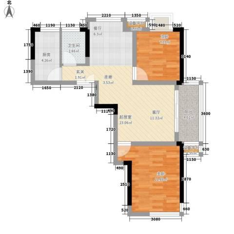 广盛华苑2室0厅1卫1厨64.00㎡户型图