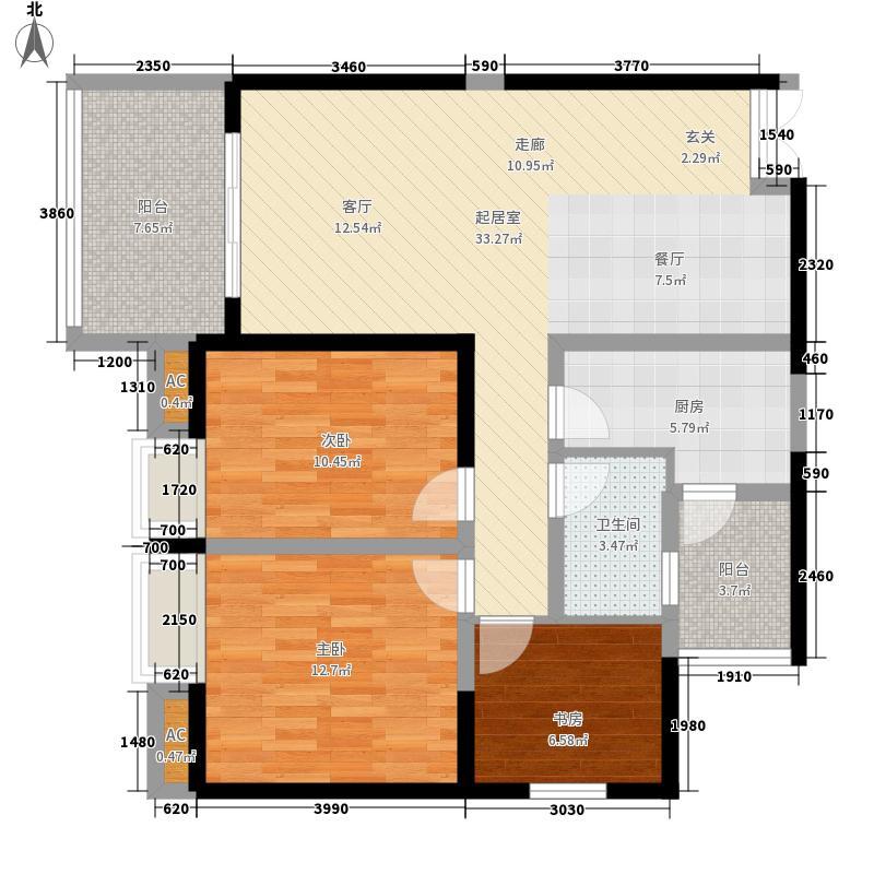 长嘉汇89.00㎡一期11号楼1号房标准层户型