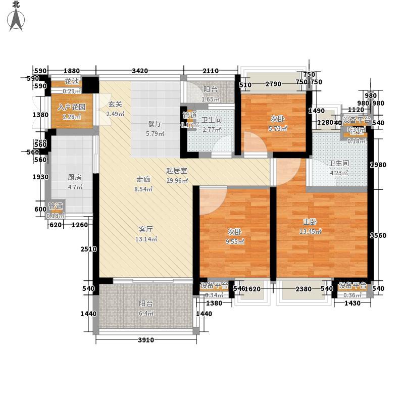 中惠璧珑湾117.00㎡15栋01户型3室2厅