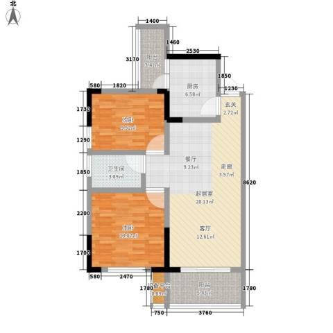诚兴园2室0厅1卫1厨89.00㎡户型图