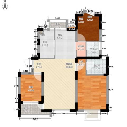新狮新苑3室0厅2卫1厨65.00㎡户型图