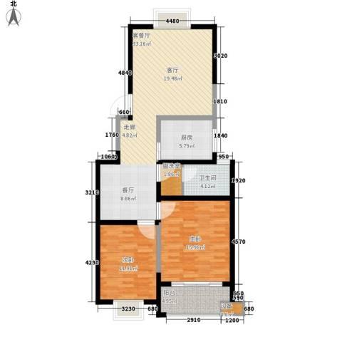 枫逸人家2室1厅1卫1厨90.00㎡户型图