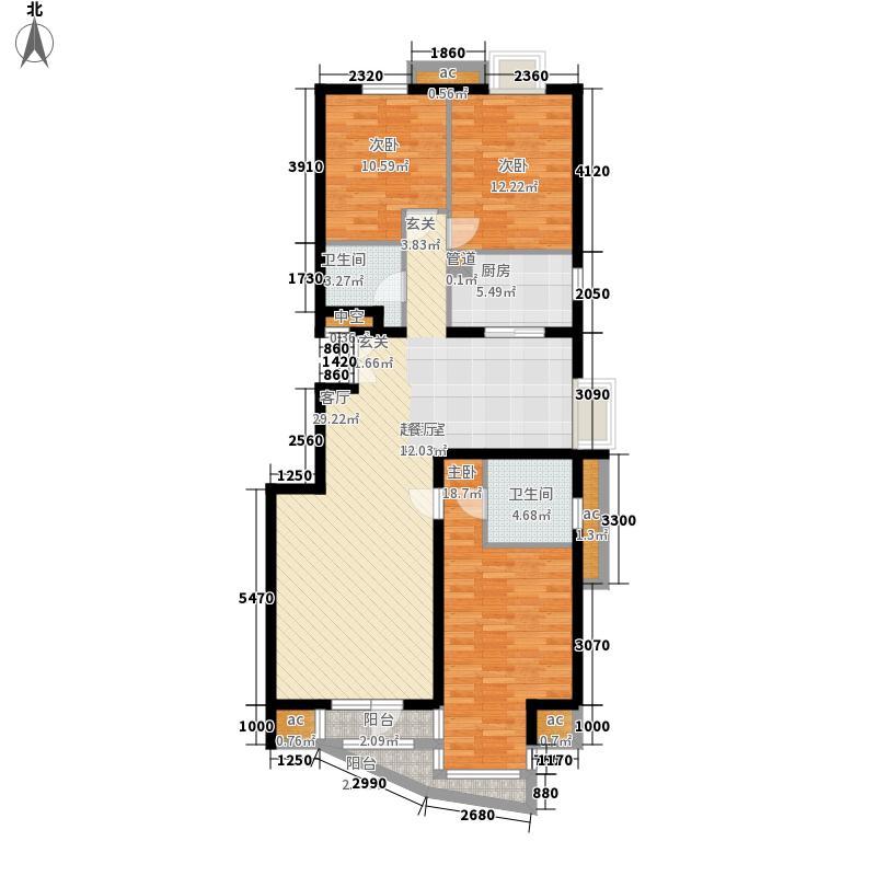 乐成国际6#标准层H户型3室2厅2卫1厨