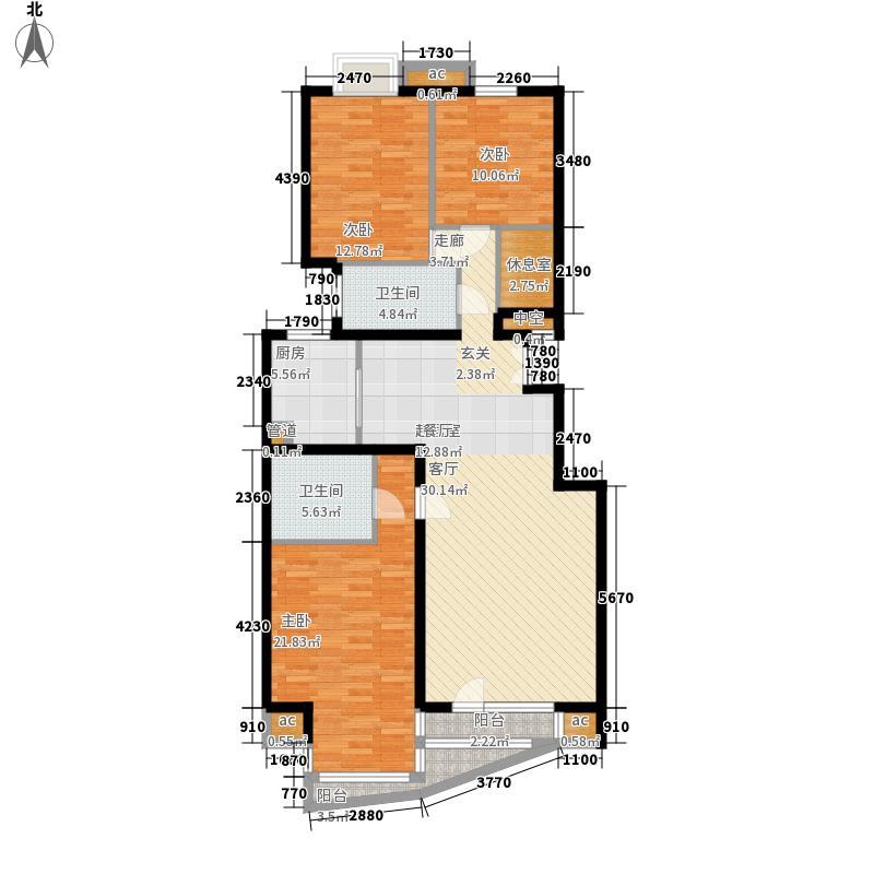 乐成国际6#标准层F反户型3室2厅2卫1厨