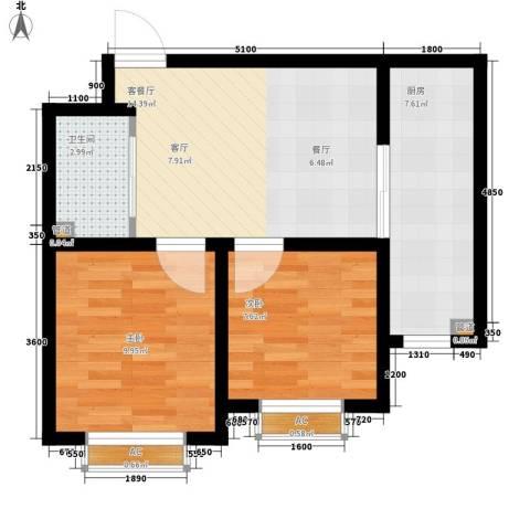 铭峰家苑2室1厅1卫1厨63.00㎡户型图