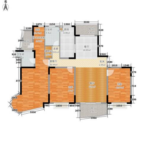 嘉禾现代城3室1厅2卫1厨160.00㎡户型图