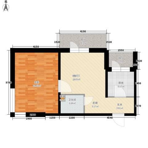 爱琴花园1室1厅1卫1厨70.00㎡户型图