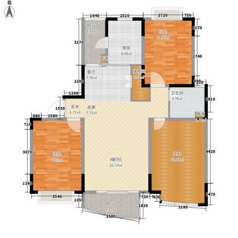 嘉禾现代城3室0厅1卫1厨128.00㎡户型图