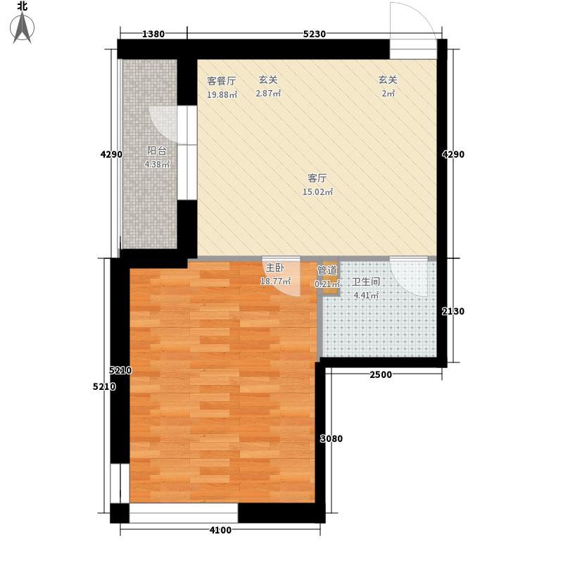 爱琴花园56.45㎡爱琴花园户型图13号门户型1室1厅1卫1厨户型1室1厅1卫1厨