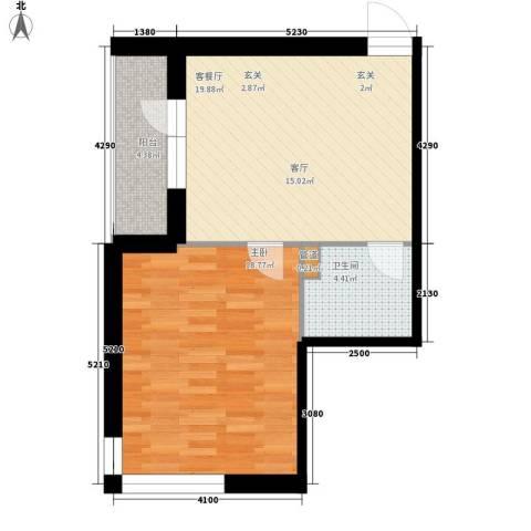 爱琴花园1室1厅1卫0厨56.00㎡户型图