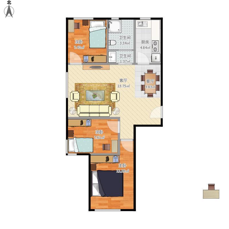中海长安雅苑T1三室两厅88平