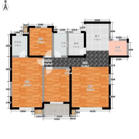 鼎新苑3室0厅2卫1厨160.00㎡户型图